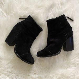 rag & bone - suede heeled ankle boots rounded toe